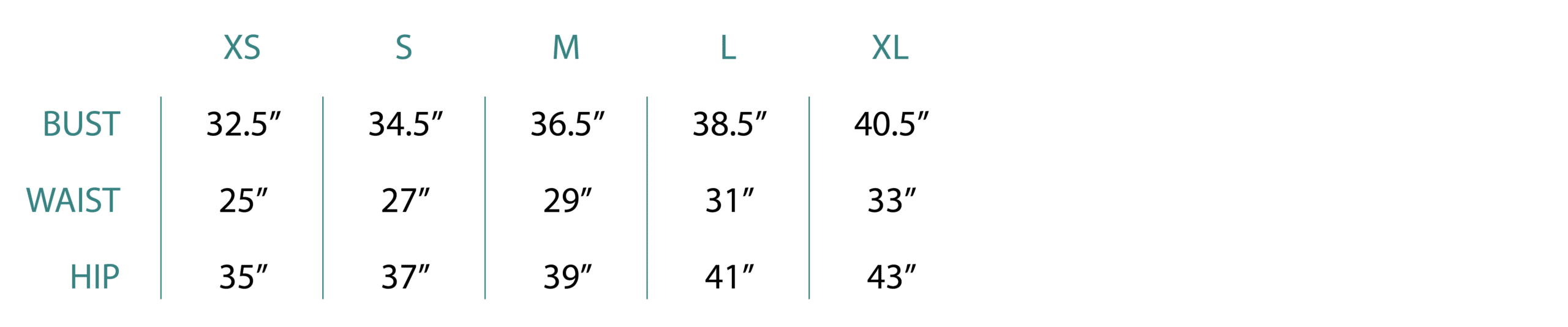 Women's Apparel Size Chart